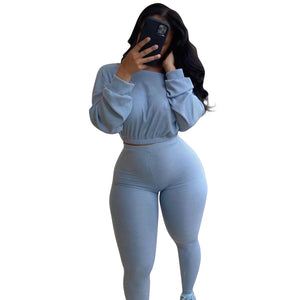 Autumn Women Solid Color Tracksuits Outfits Casual Lady O-neck Full Sleeve