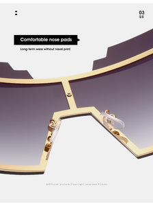 Oversized Goggle Rimless Sunglasses Women Fashion Gradient Sun Glasses
