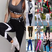 Women Patchwork Elastic Leggings For Yoga and Sports