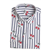 Women Cherry Blouses Long Sleeve Shirt Turn Down Collar Floral Blouse