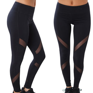 Women High Waist Sexy Skinny Leggings Patchwork Mesh Push Up Yoga Pants