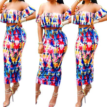 Summer Party Ruffles Elegant Vintage 2 Piece Boho Printed Dresses