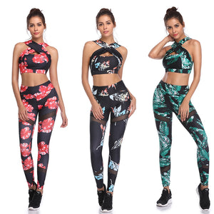 Fitness Yoga Set Women Halter Sleeveless Mesh Leggings Yoga Suits Running Workout Gym Wear Tight Slim Training Suit