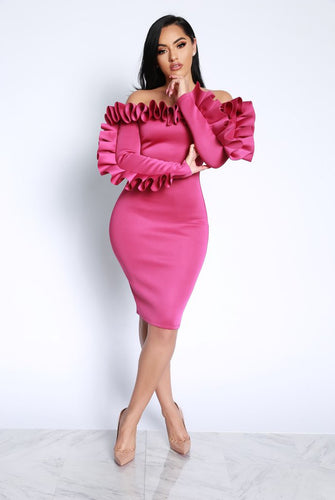 Women Long Sleeve Pencil Dress Empire Slim 2019 Spring