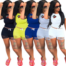 Lovely Leisure Round Neck Hollow-out Women's Blending Two-piece Shorts Set