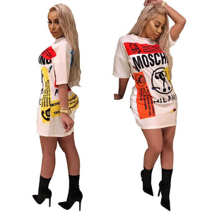Fashion Sexy  Dress Summer Lady Letters Doodle Casual Loose Mini Dress