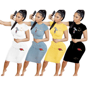 Cartoon Patch Women's 2 Piece Outfits Short Sleeves Night Club Dress