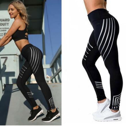 OL Printed Reflective Sport Yoga Pants Women Fitness Gym Leggings Running Compression Tights Quick Dry Sport Clothes Trousers
