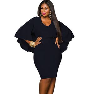 Plus Size 3XL Cape Dress Draped Cloak Solid Bodycon Party Pencil Summer Dresses