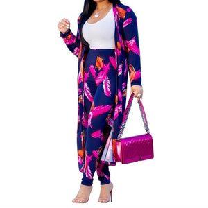 Matching Sets Printed 2 Piece Set Women Clothes  Long Cardigan Tops+Pants
