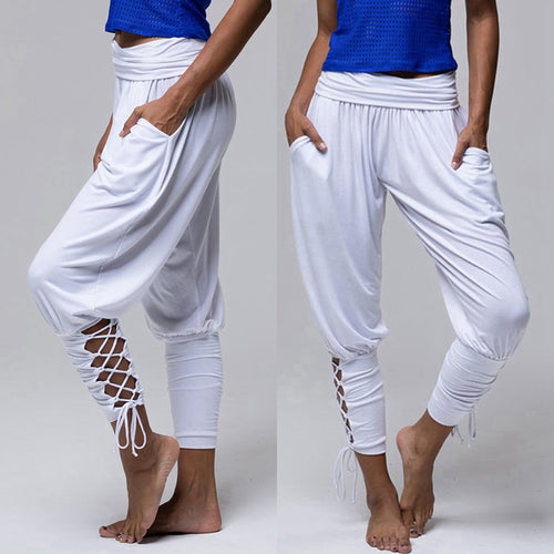 Yoga Pilates Pants Women Soft Solid Lace Up Jogger Harem Pants
