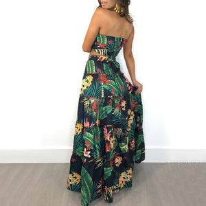 Women Two Piece Set Crop Top Long Skirt Floral Printed Ruffles High Waist Casual Suit