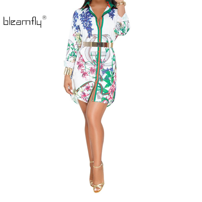 S-3xl Plus Size Dress Women Clothing 2018 Robe Sexy Print Summer Boho Dresses Long Sleeve Loose Casual Shirt Dress Robe Femme
