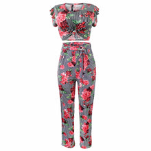 Women Casual Track Suit Summer Two Pieces Set Flower T-Shirt Top