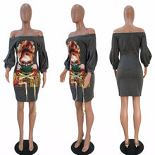 Summer Fashion Cartoon Face Pattern Lantern Sleeve Dress For Women