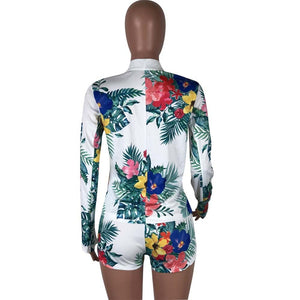 Summer Women Two Piece Set Full Length Sleeve Cardigan Coat Sexy Hot Pants Vintage Leaf & Floral Printing Clubwear 2 Piece Suits
