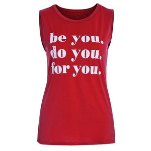 Women's Tank Tops Ladies Sleeveless Letter O-neck Blouse