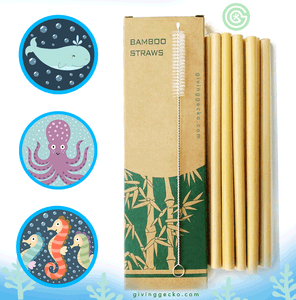 Eco Friendly Natural Bamboo Drinking Reusable Straws (10pcs) Reusable Straws - Giving Gecko Giving Back To Animal Rescue Charities