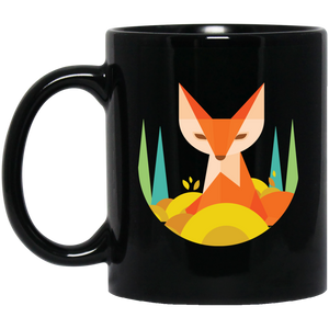Abstract Fox Forrest 11 oz. Black Mug - Giving Gecko Giving Back To Animal Rescue Charities