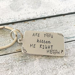 Are You Kitten Me Right Meow Keychain - Giving Gecko Giving Back To Animal Rescue Charities