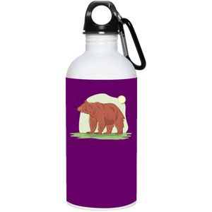 Bear In Meadow With Sun 20 oz. Stainless Steel Water Bottle - Giving Gecko Giving Back To Animal Rescue Charities
