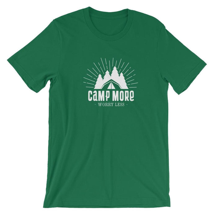 Camp More Worry Less T-Shirt - Giving Gecko Giving Back To Animal Rescue Charities