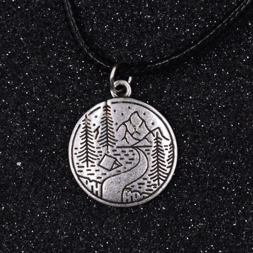 Camping Mountains and River Silver Necklace (Wax Rope) - Giving Gecko Giving Back To Animal Rescue Charities