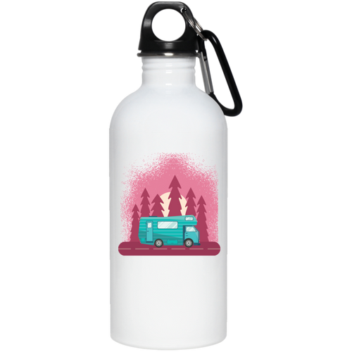 Camping Travel Van 20 oz. Stainless Steel Water Bottle - Giving Gecko Giving Back To Animal Rescue Charities