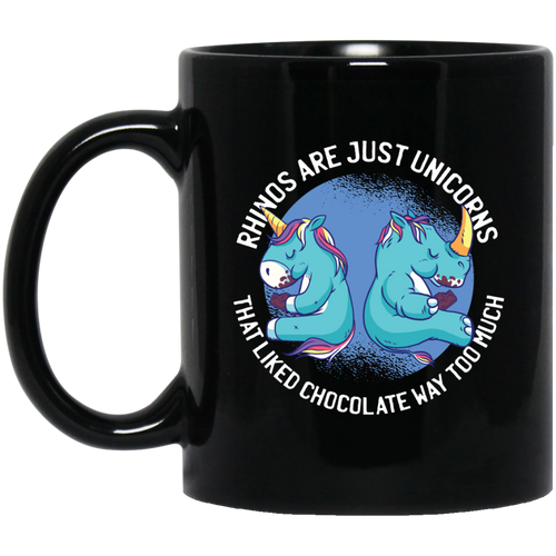 Chubby Unicorn Rhinos 11 oz. Black Mug - Giving Gecko Giving Back To Animal Rescue Charities