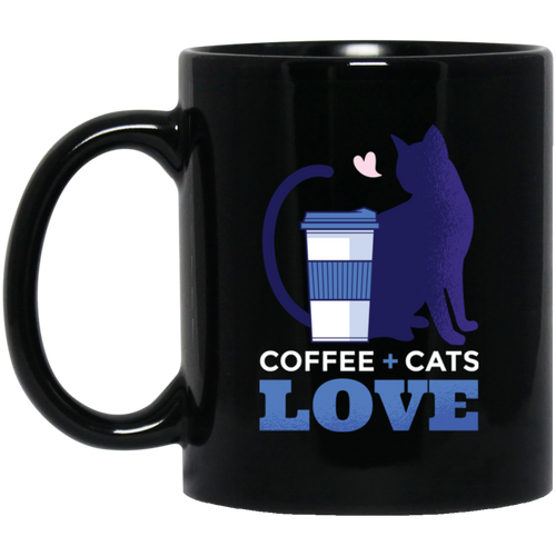 Coffe + Cats Love 11 oz. Black Mug - Giving Gecko Giving Back To Animal Rescue Charities