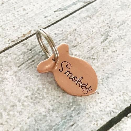 Custom Hand Stamped Cat ID Tag Pets - Giving Gecko Giving Back To Animal Rescue Charities