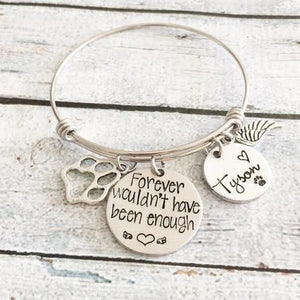 Custom Hand Stamped Pet Remembrance Bangle - Giving Gecko Giving Back To Animal Rescue Charities