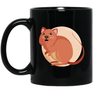 Cute Quokka 11 oz. Black Mug - Giving Gecko Giving Back To Animal Rescue Charities