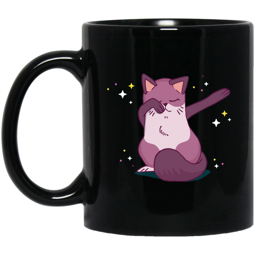 Dancing Cat 11 oz. Black Mug - Giving Gecko Giving Back To Animal Rescue Charities