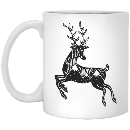 Find Your Way Deer Mountains Mug - Giving Gecko Giving Back To Animal Rescue Charities