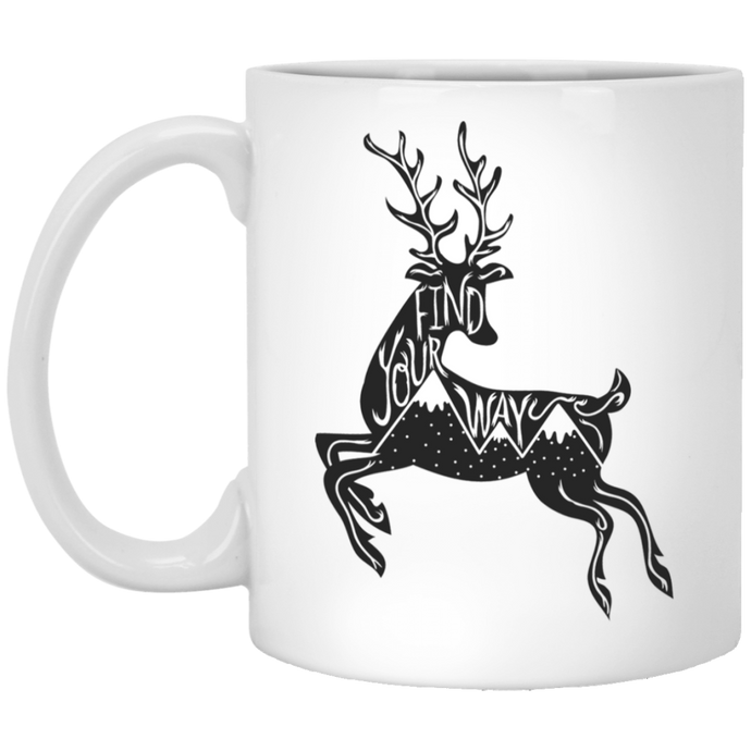 Find Your Way Deer Mountains Mug Mugs - Giving Gecko Giving Back To Animal Rescue Charities