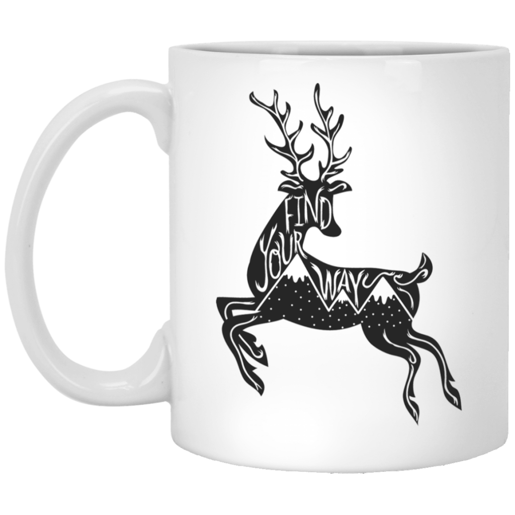 Find Your Way Deer 11 oz. White Mug - Giving Gecko Giving Back To Animal Rescue Charities