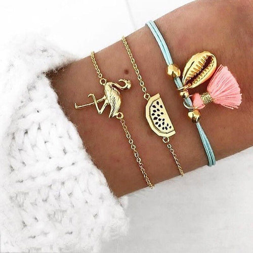 Flamingo Watermelon Shell Rope Chain Boho Bracelet (3pc/Set) - Giving Gecko Giving Back To Animal Rescue Charities