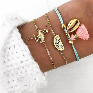 Flamingo Shell Boho Bracelet (3Pcs/Set) - Giving Gecko Giving Back To Animal Rescue Charities