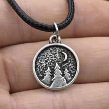 Forest Night Nature Pine Trees Necklace (Wax Rope) - Giving Gecko Giving Back To Animal Rescue Charities