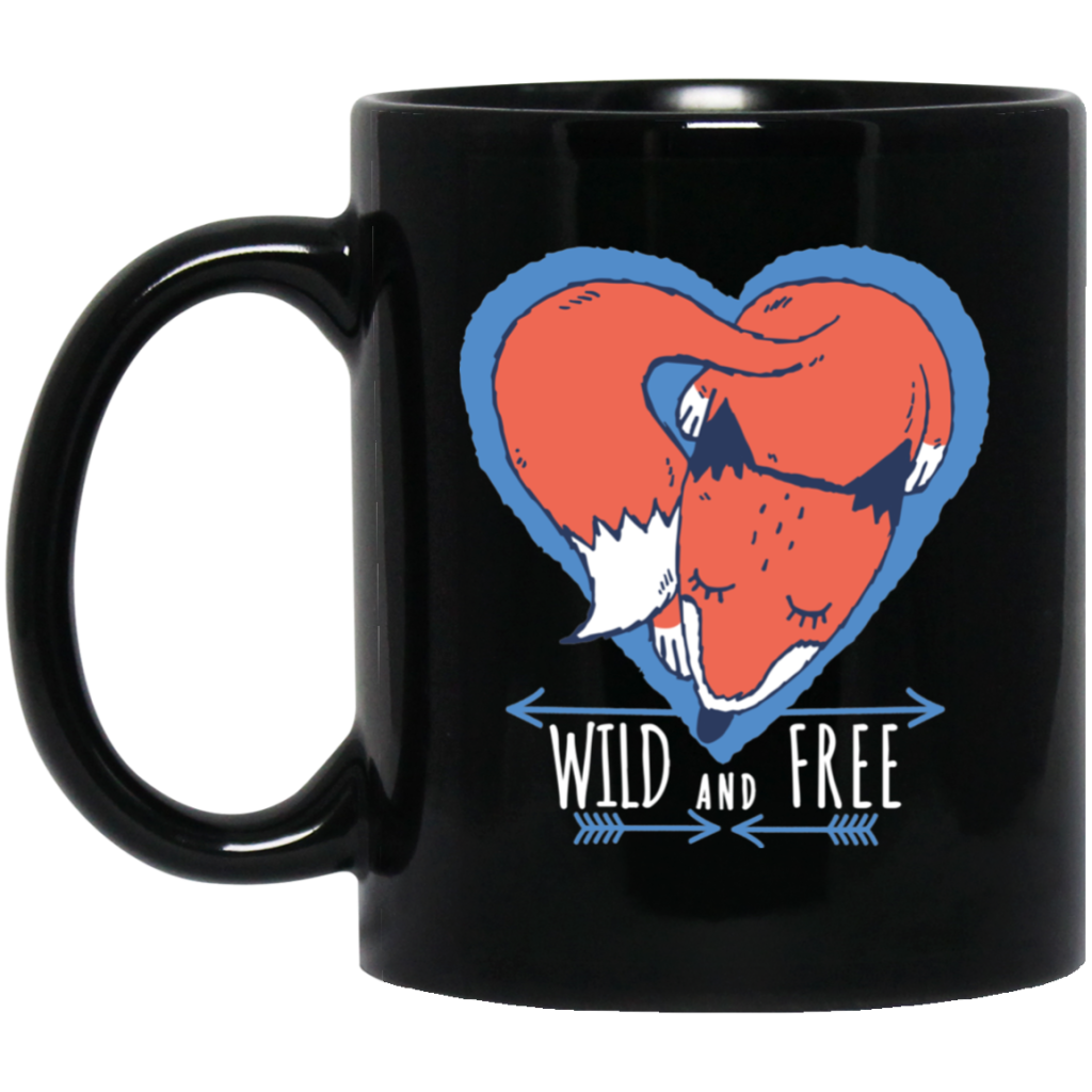 Fox Wild And Free 11 oz. Black Mug - Giving Gecko Giving Back To Animal Rescue Charities