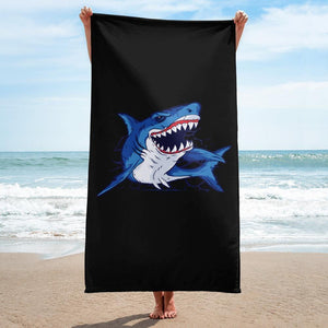 Marine Limited Edition - Grinning Shark Beach Towel - Giving Gecko Giving Back To Animal Rescue Charities