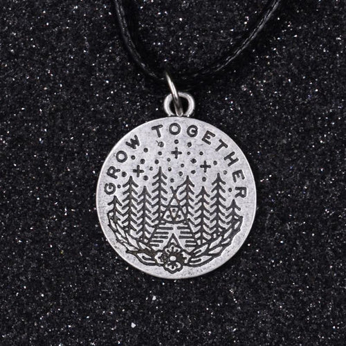 Grow Together Pine Trees Camping Necklace (Wax Rope) - Giving Gecko Giving Back To Animal Rescue Charities