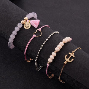 Heart Anchor Dreamcatcher Pink Crystal Boho Bracelets (5pc/Set) - Giving Gecko Giving Back To Animal Rescue Charities