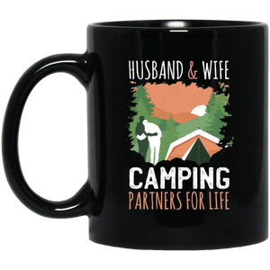 Husband & Wife Camping Partners For Life 11 oz. Black Mug - Giving Gecko Giving Back To Animal Rescue Charities