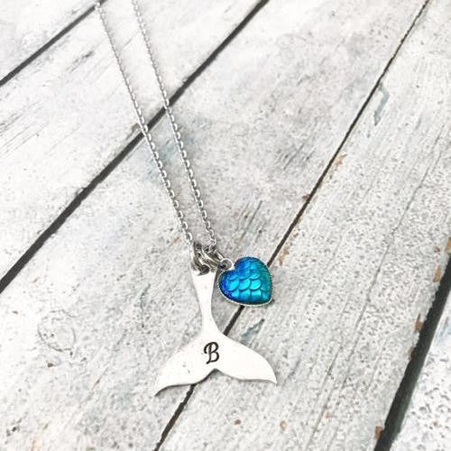 Mermaid Custom Letter Hand Stamped Necklace - Giving Gecko Giving Back To Animal Rescue Charities