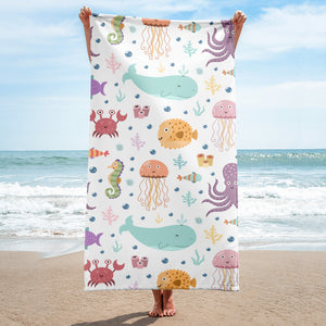 Sea Animals Beach Towel - Giving Gecko Giving Back To Animal Rescue Charities
