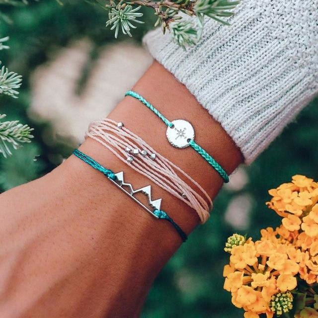 Mountains Compass Boho Bracelet (3Pcs/Set) Bracelets - Giving Gecko Giving Back To Animal Rescue Charities
