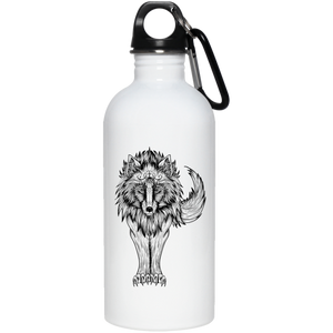 Native Black Wolf 20 oz. Stainless Steel Water Bottle - Giving Gecko Giving Back To Animal Rescue Charities