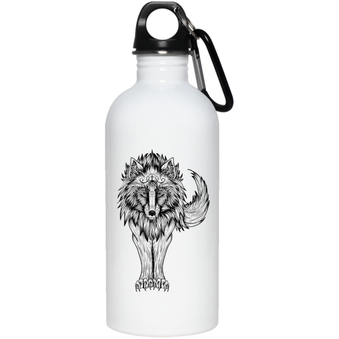 Native Black Wolf Reusable Water Bottle Water Bottles - Giving Gecko Giving Back To Animal Rescue Charities